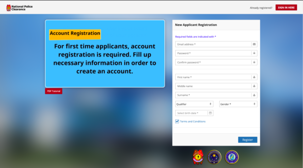 police clearance registration