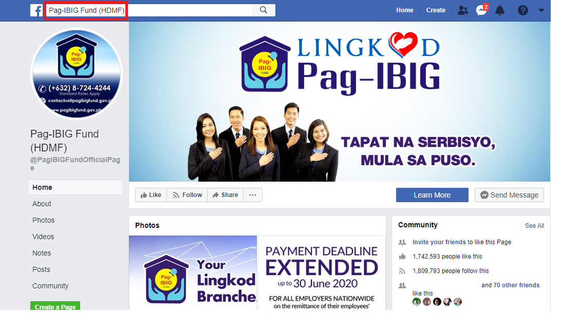 pag-ibig contributions online facebook page