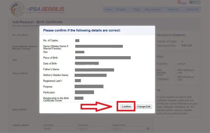 psa birth certificate psa website fillout application form confirmation