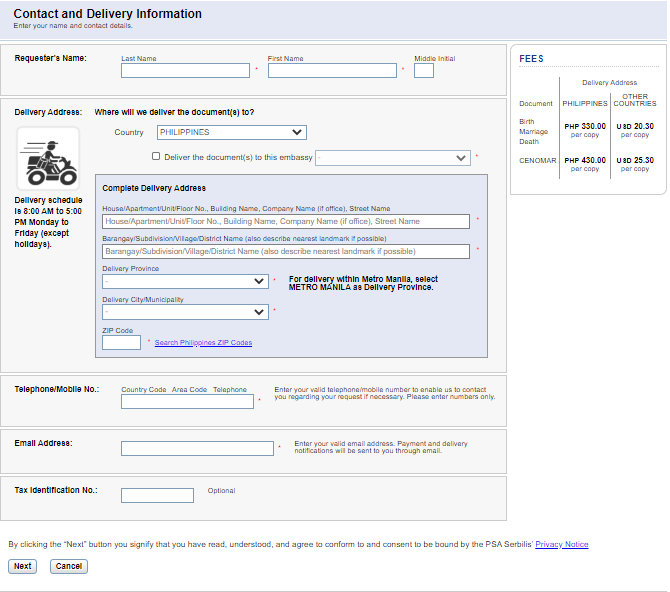 psa birth certificate psa website fillout contact and delivery form