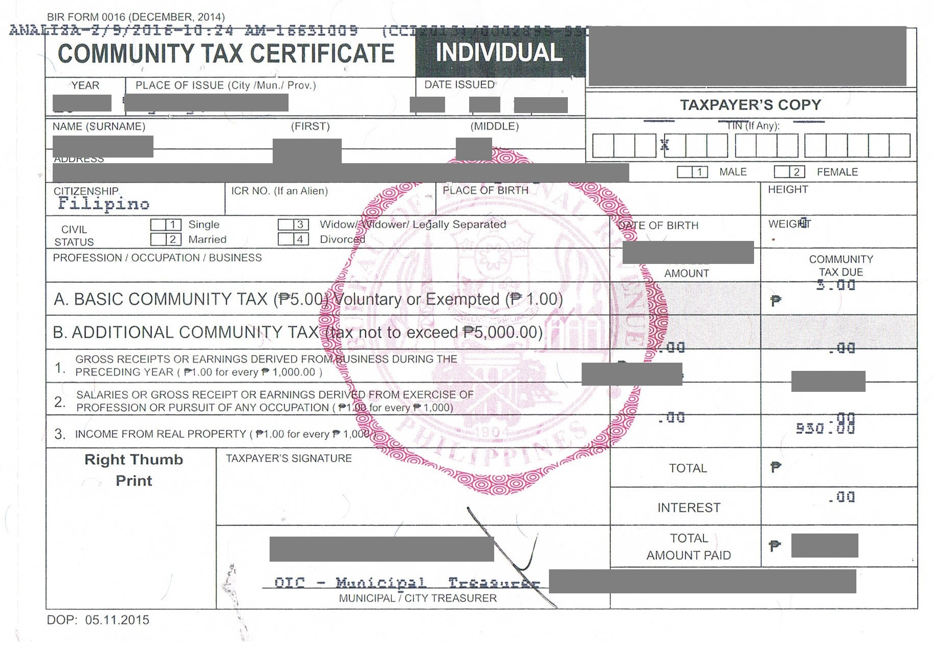 police clearance community tax clearance